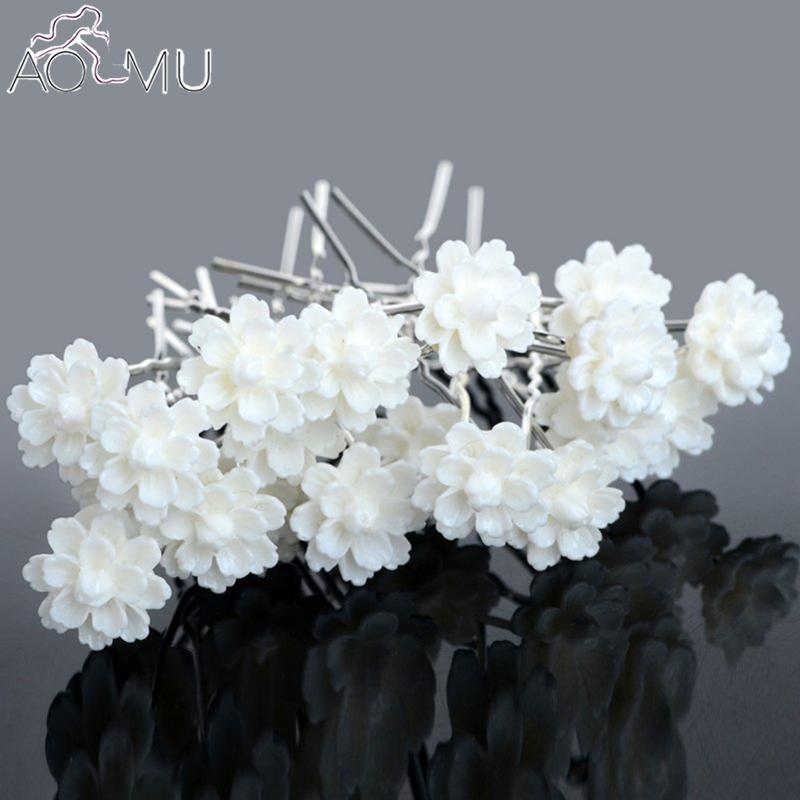 [해외]AOMU 20 PC / lot 아이보리 화이트 아크릴 연꽃 꽃 머리핀 헤어 클립 신부 들러리 결혼식 액세서리 헤드 피스 쥬얼리/AOMU 20 Pcs/lot Ivory White Acrylic Lotus Flower Hair Pins Hair Clips Brida