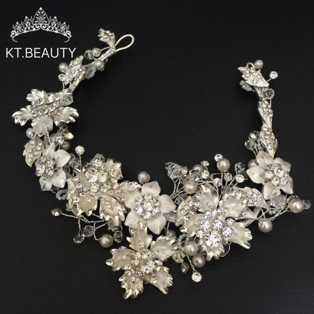 [해외]럭셔리 크리스탈 실버 크라운 티아라 패션 헤어 밴드 크리스탈 헤어 쥬얼리 웨딩 헤어 액세서리 낭만적 인 브라 머리 체인 헤드/Luxury Crystal Silver Crown Tiara Fashion Hairband Crystal Hair Jewelry Wedd