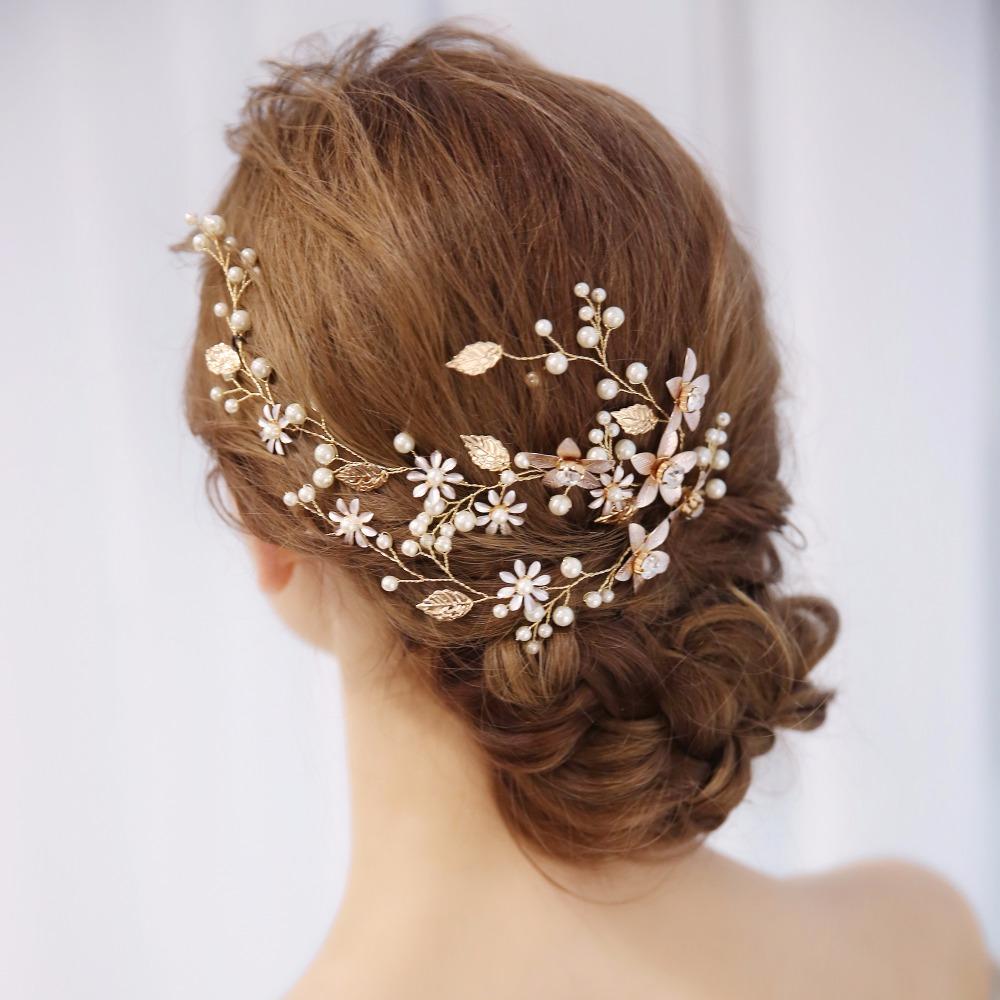 [해외]진주 라인 석 꽃 신부 머리띠 웨딩 헤어 쥬얼리 골드 리프 Rhinestone 꽃 헤어 밴드 웨딩 헤어 장식품/Pearl Rhinestone Flower Bride Headband Wedding Hair Jewelry Gold LeafRhinestone Flow
