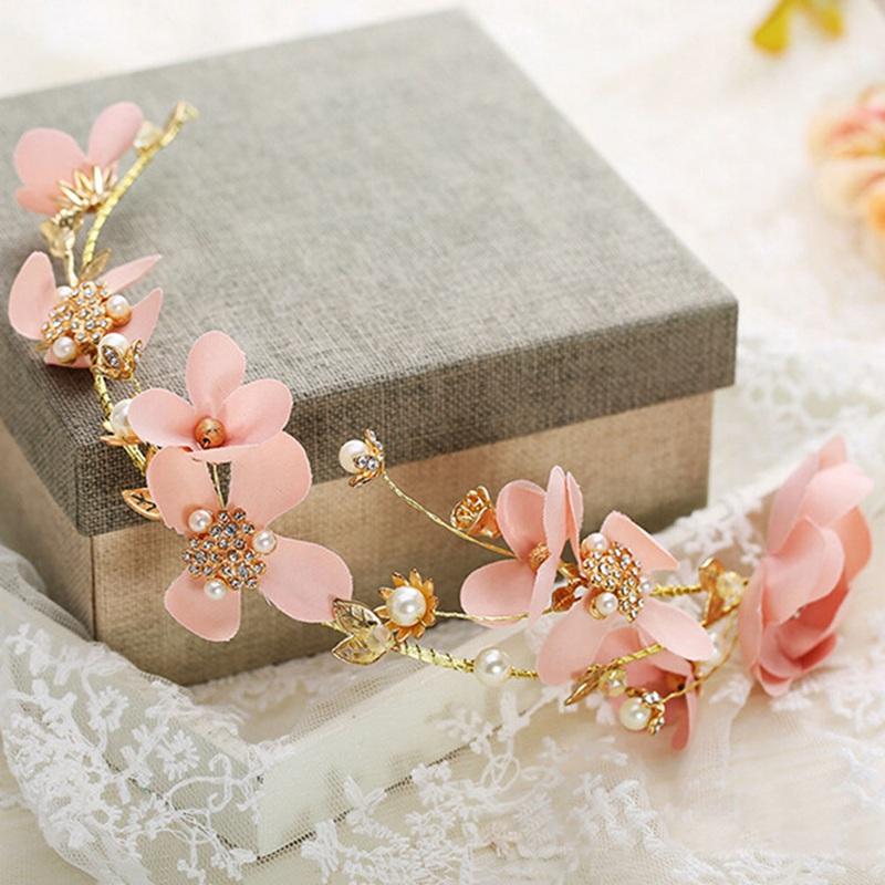 [해외]달콤한 긴 머리 신부 파티 웨딩 신부의 머리 장식 수제 꽃 웨딩 헤어 장식품 골드 컬러 머리 장식/Sweet Long Hair Bridal Party Wedding Bride Headdress Handmade Flower Wedding Hair Ornaments