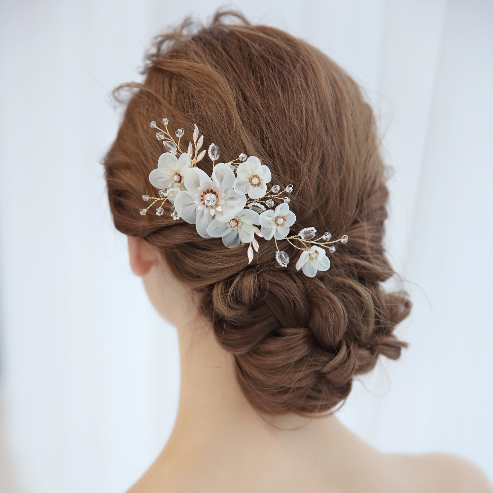 [해외]털실 꽃 머리 빗 신부 웨딩 헤어 Acessories 헤어 샵에서 수제 빗 웨딩 파티 신부 헤어 빗 신부 액세서리/Yarn Flower Hair Combs For Bride Wedding Hair Acessories Handmade Combs In Hair Pa