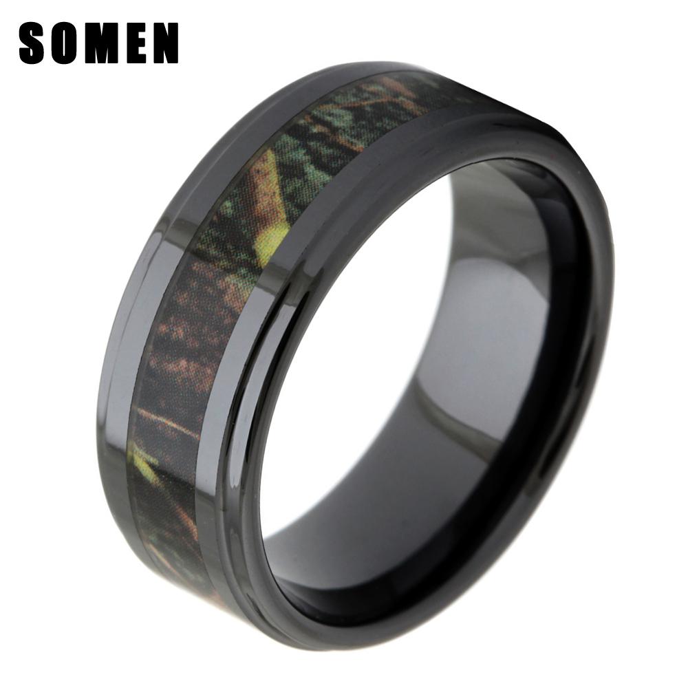 [해외]8MM Men & s Black 세라믹 우드 속지 결혼 반지 Real Zebra 나무 카모 인레이 패션 남성 쥬얼리 bague ceramique homme anel/8MM Men&s Black Ceramic Wood Inlay Wedding Ring Re