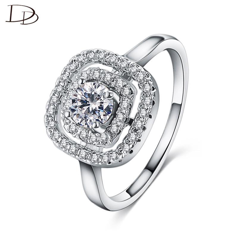 [해외]여자를큰 사각 디자인 호화스러운 aaa 지르콘 반지 925  보석 결정 결혼식 교전 anel DD111/big square design luxury aaa zircon rings for women 925 sterling-silver-jewelry crystal