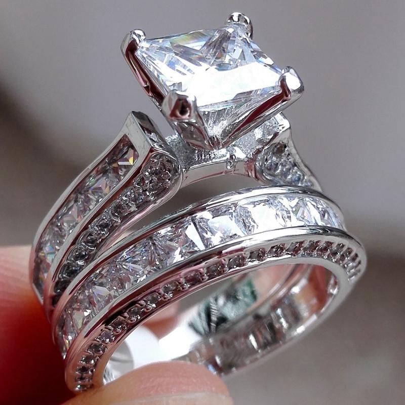 [해외]SHUANGR 패션 Dimond 링 실버 컬러 패션 광장 결혼 약혼 반지 절묘한 여성 입방 지르코니아 보석 Dropship/SHUANGR Fashion Dimond Ring Silver Color Fashion Square Wedding Engagement Ri