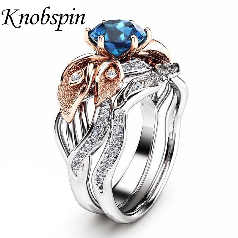 [해외]트렌디 레이디 단풍 교전 반지 세트 블루 지르콘 결혼 기념일 반지 여성 파티 보석 US Size 6-10 bague femme/Trendy Ladies Leaves Engagement Rings Set Blue Zircon Anniversary Wedding R