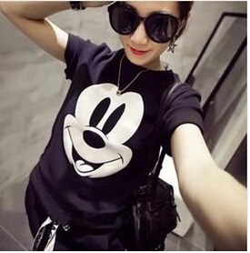 [해외]2016 여성 & S 여름 T 셔츠 미키 프린트 반팔 탑/2016 Women&s Summer T-Shirt Mickey Printed Short Sleeve Tops