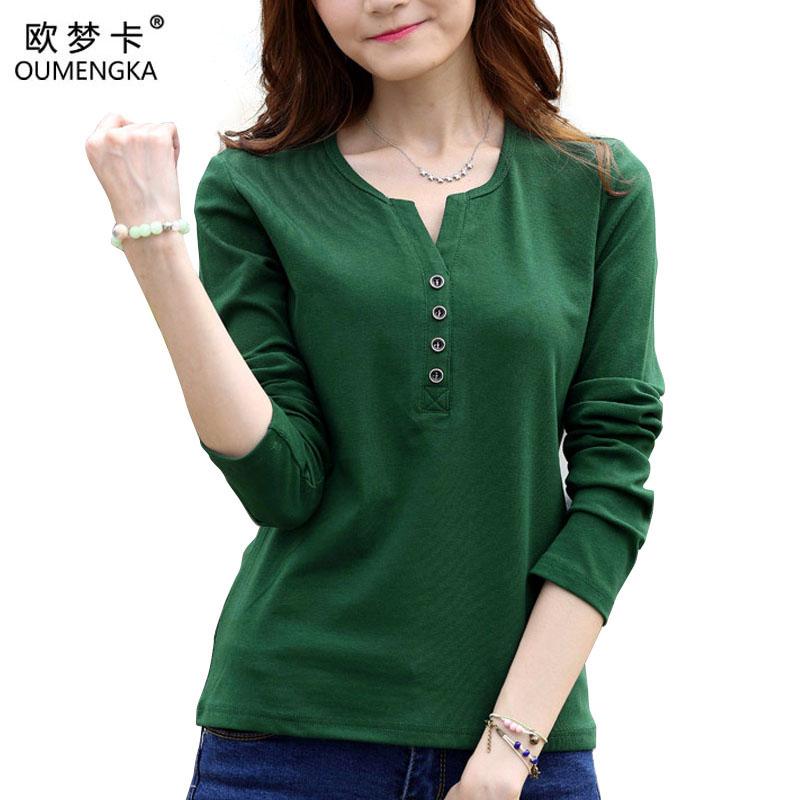 [해외]OUMENGKA 티 셔츠 Femme 봄 긴 Retail 티셔츠 여성 티셔츠 Womens Tops 패션 Poleras De Mujer Solid Camisetas Mujer 4XL/OUMENGKA Tee Shirt Femme Spring Long Sleeve t-