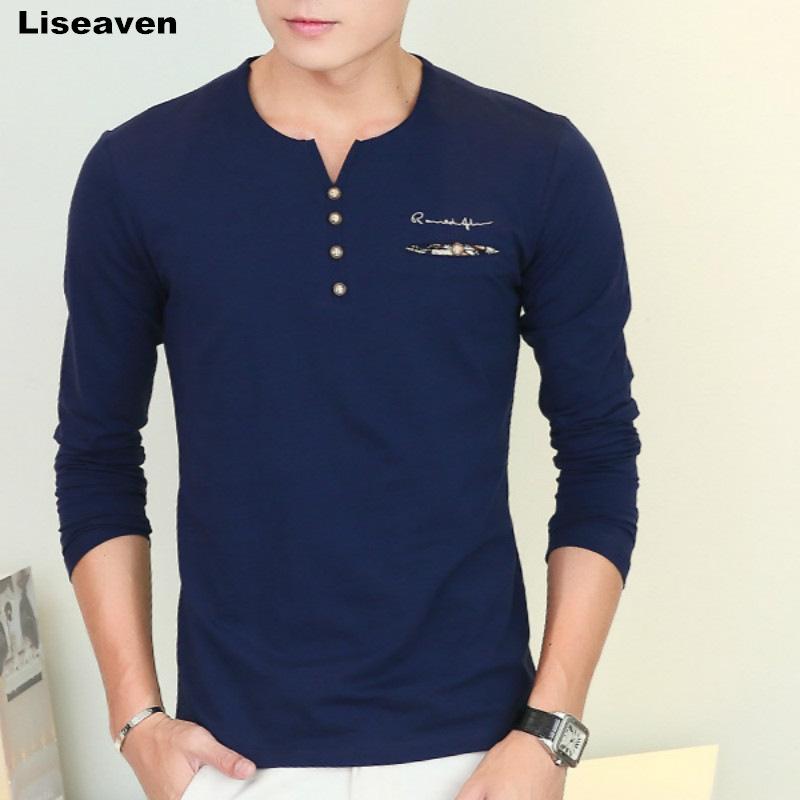 [해외]Liseaven 가을 새 남성 & 긴 Retail 티셔츠 v 목 단추 장식 캐주얼 streetwear 긴 Retail 티 셔츠 남성 티셔츠/Liseaven autumn new men&s long sleeved T-shirt v neck button dec