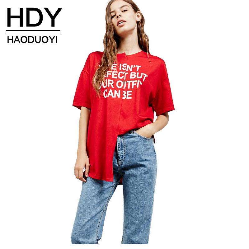 [해외]HDY Haoduoyi 비대칭 기본 탑 여성 반팔 여성 글자 프린트 풀오버 탑 스트리트 루스 O 넥 레드 캐주얼 T 셔츠/HDY Haoduoyi Asymmetrical Basic Tops Women Short Sleeve Female Letter Print Pu
