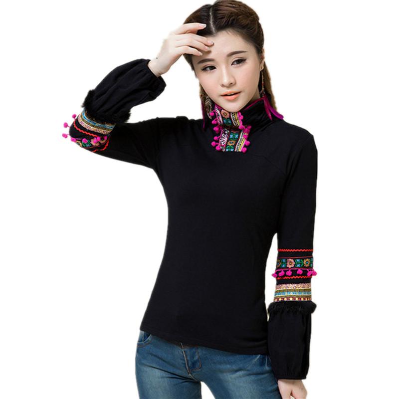 [해외]2017 봄 가을 여성 탑 티셔츠 긴 Retail 로브 바디 T 셔츠면 자수 블라사 페미니나 빈티지 티셔츠/2017 Spring Autumn Women Tops Tees  Long Sleeve Robe Body T Shirt Cotton Embroidery Bl