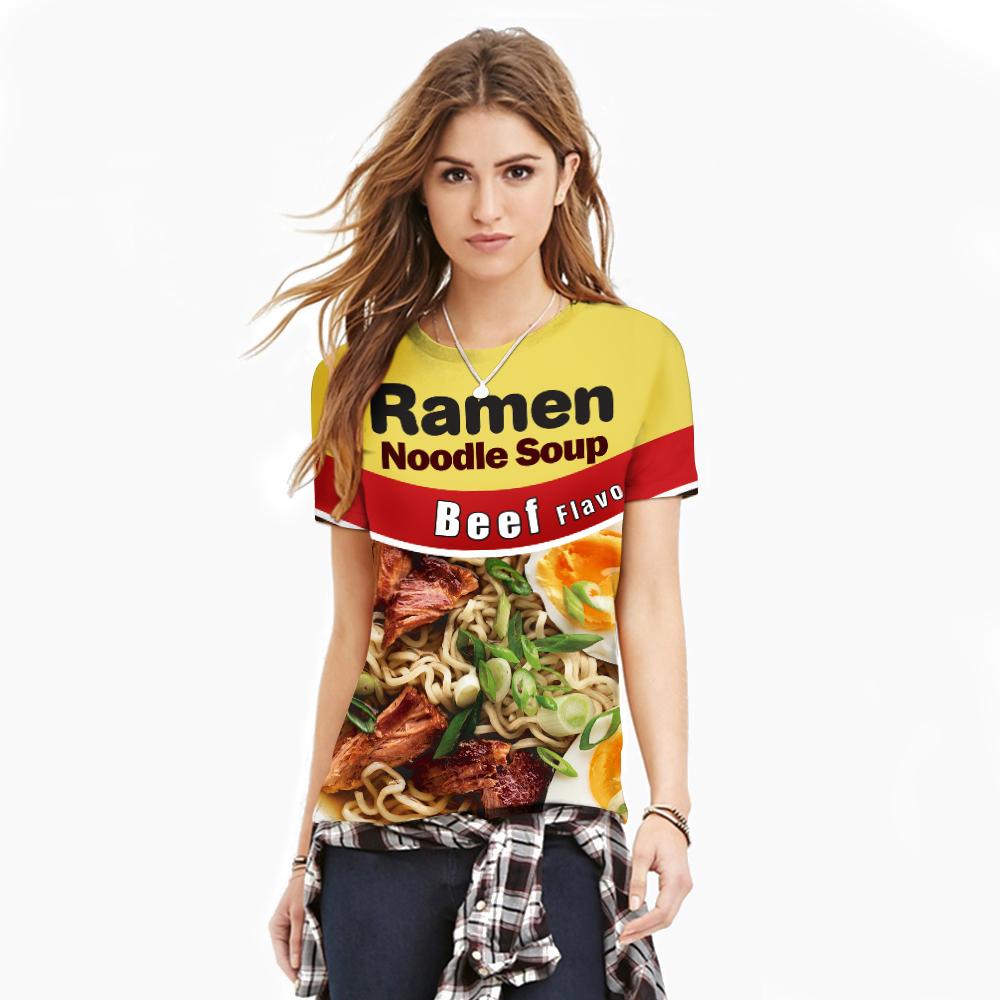 [해외]옐로우 스포르팅 탑스 3D라면 누들 수프 인쇄 새 패션 티셔츠 반팔 빠른 건조 루즈 캐주얼 탑 티 블라우스/Yellow Sporting Tops 3D Ramen Noodle Soup Printed New Fashion T shirts Short Sleeve Qu
