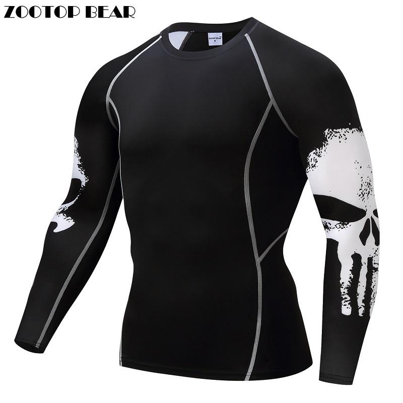 [해외]Punisher 압축 셔츠 남성 통풍 빠른 드라이 T 셔츠 보디 빌딩 탑 교차점 티 휘트니스 역도 기지개 기본 레이어/Punisher Compression Shirt Men Breathable Quick Dry T Shirt Bodybuilding Top Cro