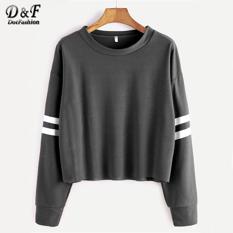 [해외]Dotfashion 딥 드롭 숄더 2017 가을 그레이 Varsity 줄무늬 자르기 T 셔츠 여성 & s 라운드 넥 긴 Retail 티셔츠/Dotfashion Deep Drop Shoulder Tops 2017 Autumn Grey Varsity Stri