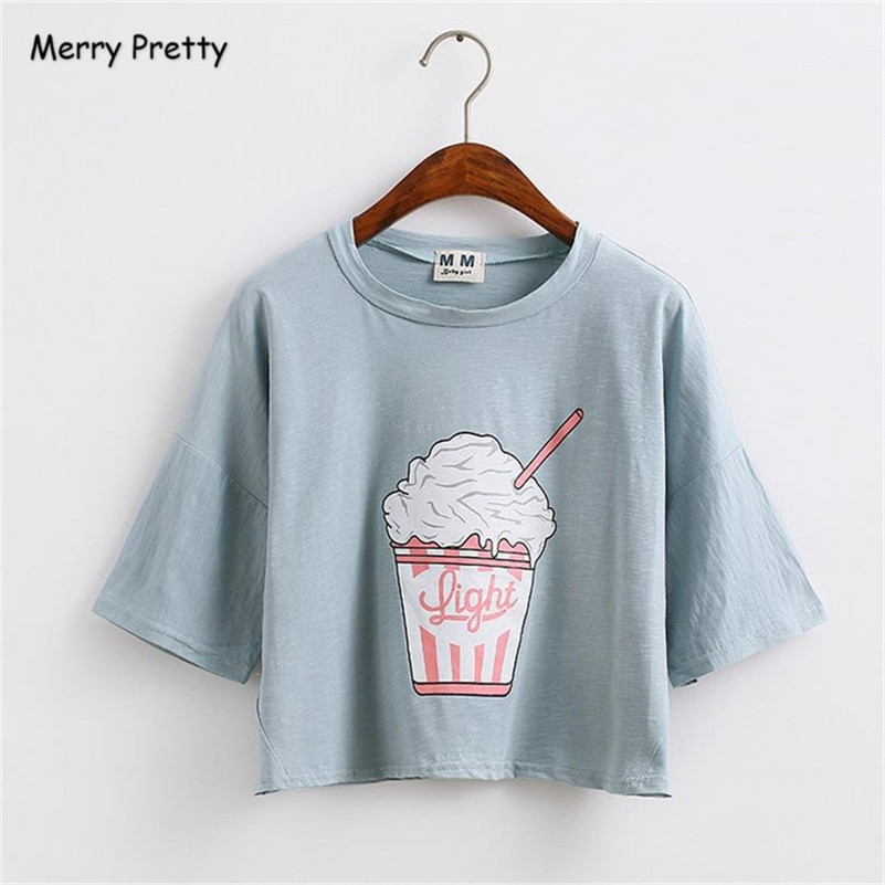 [해외]메리 예쁜 harajuku kawaii t 셔츠 여성 여름 새로운 아이스크림 면화 느슨한 티셔츠 여성 자르기 최고 티셔츠 camisetas mujer/Merry Pretty harajuku kawaii t shirt women summer new ice crea