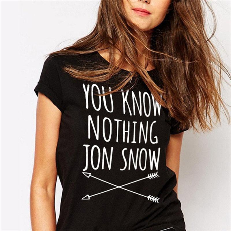 [해외]CWLSP 2017 여름의 게임 게임 여자 T 셔츠 Jon Snow 프린트 된 편지 T 셔츠 티셔츠 Camisetas Mujer/CWLSP 2017 Summer Games Of Thrones Womens T Shirt Female You Know Nothing