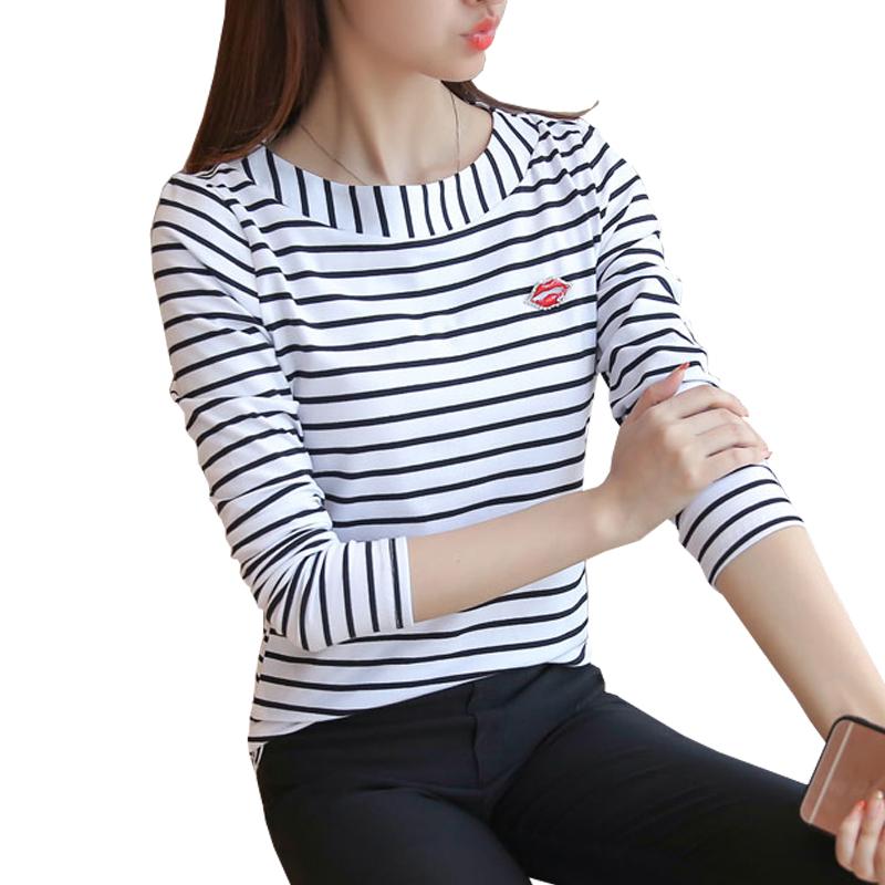 [해외]t 셔츠 여성 줄무늬 길어야 2017 가을 패션 여자 긴 Retail면 탑스 검정 흰색 티셔츠 플러스 크기 여자 옷 XXXL/t shirt women striped tops 2017 Autumn Fashion Womens Long Sleeve Cotton Top