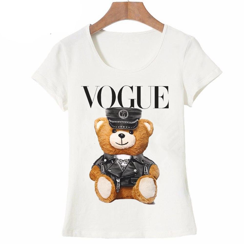 [해외]2017 새로운 여름 패션 여성 & 짧은 Retail 슈퍼 귀여운 보그 경찰 곰 테디 티셔츠 흰색 멋진 힙 스터드 티셔츠/2017 new summer fashion Women&s  short sleeve super cute vogue Police bear