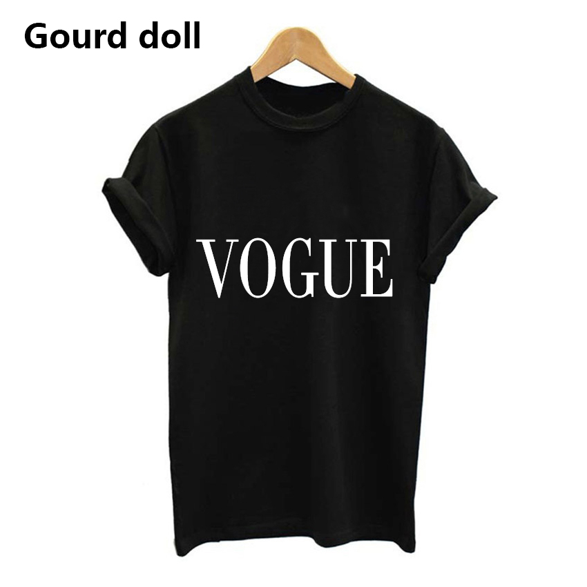 [해외]하라주쿠 패션 VOGUE 편지 T 셔츠 프린트 T 셔츠 여성 T 셔츠 여성 T 여성용 tumblr Black / White kawaii 반Retail/Harajuku Fashion VOGUE Letter Printed T-Shirts Women Tops Tee