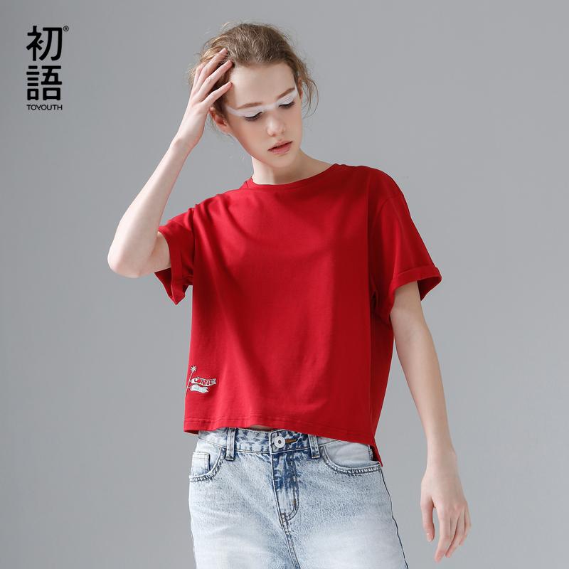 [해외]Toyouth T-Shirts 2017 여름 여성 티셔츠 코 튼 캐주얼 자 수 단색 짧은 Retail O- 넥 Tees 탑스/Toyouth T-Shirts 2017 Summer Women T Shirt Cotton Casual Embroidery Solid Co