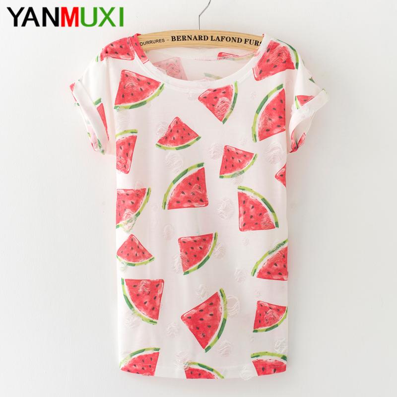 [해외]새 여름 여성 T 셔츠 패션 수박 인쇄 하라주쿠 T 셔츠 2017 섹시한 홀 Tassels 여성 위로/New Summer Female T Shirt Fashion Watermelon Print Harajuku T-shirt 2017 Sexy Hole Tassel
