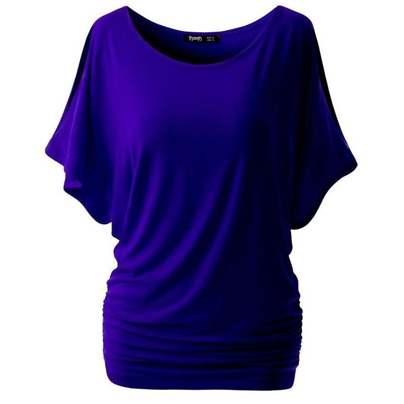 [해외]LASPERAL 브랜드 T 셔츠 여성 Batwing 슬리브 셔츠 탑 솔리드 오 넥 코튼 블렌드 여름 티 탑 여성 플러스 사이즈 캐쥬얼 셔츠/LASPERAL Brand T Shirt Women Batwing Sleeve Shirts Top Solid O-Neck