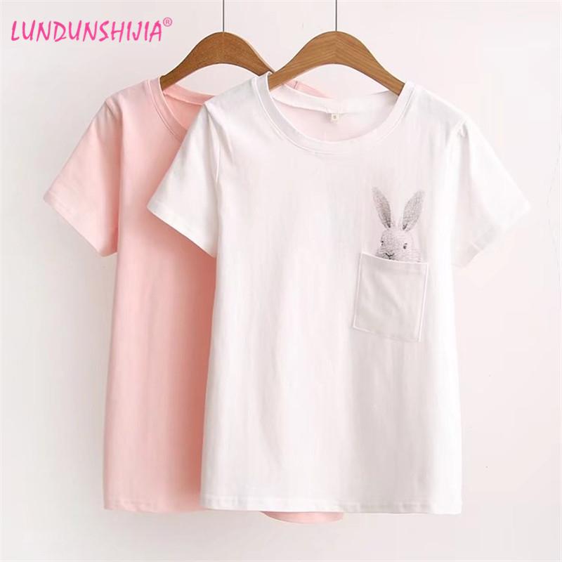 [해외]LUNDUNSHIJIA 2017 여름 T- 셔츠 여성 레이디 위쪽 코 튼 여성 T- 셔츠 의류 인쇄 된 포켓 토끼 위쪽 귀여운 T- 셔츠 여성을위한/LUNDUNSHIJIA 2017 Summer T-shirt Women Lady Top Cotton Female T