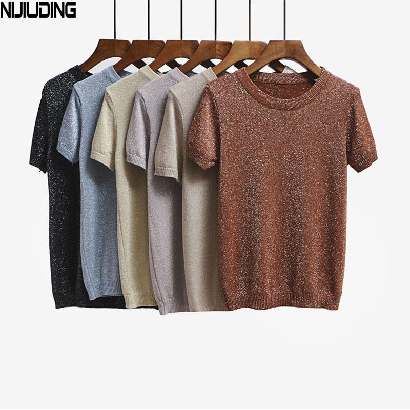 [해외]NIJIUDING 2017 여름 니트 티셔츠 탑 티 반Retail 솔리드 오 넥 셔츠 티셔츠 패션 슬림 니트 티셔츠 /NIJIUDING 2017 Summer Knitted T Shirt Top Tees Short Sleeve Solid O-neck T-Shirt