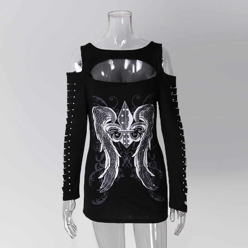 [해외]2017 패션 여성 Bodycon T - Shirts 긴팔 중공업 탑스 프린트 탑스 티셔츠 캐주얼 홀 하라주쿠 걸즈 펑크 LJ9170R/2017 Fashion Women Bodycon T-Shirts Long Sleeve Hollow Out Tops Print
