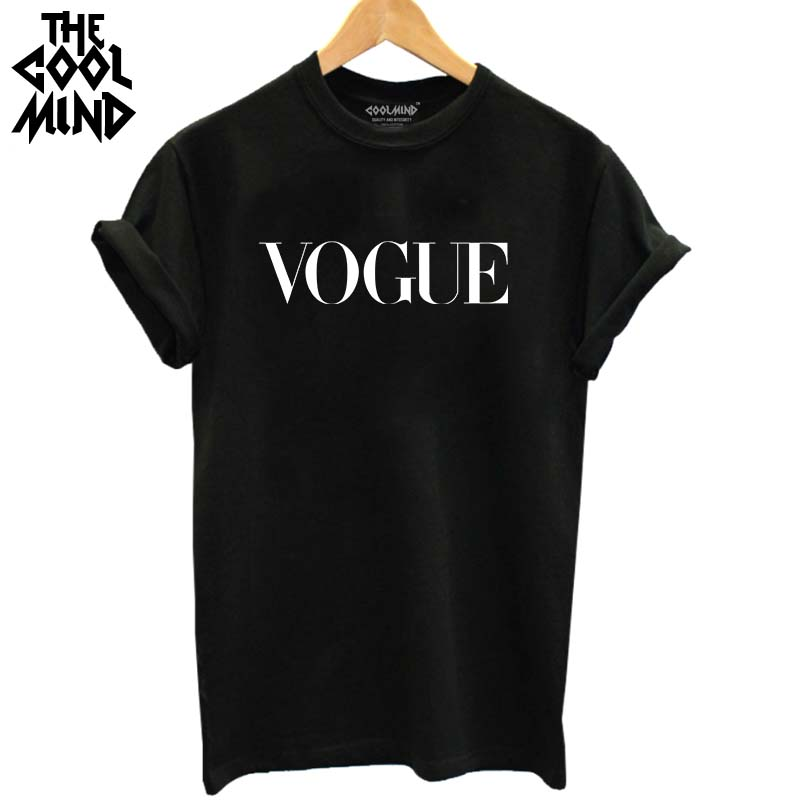 [해외]THE COOLMIND 100 % 코튼 보그 문자 프린트 통기성 tshirt 캐주얼 여성 & s 티셔츠 o-neck women tops 티셔츠/THE COOLMIND 100% cotton vogue letter printed women breathable
