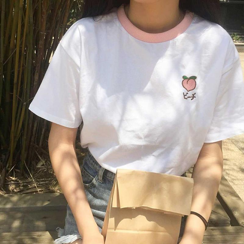 [해외]2017 여름 과일 수 놓은 대학 바람 패치 워크 느슨한 코 튼 반 슬리브 여성 티셔츠/2017 Summer Fruit Embroidered College Wind Patchwork Loose Cotton Short Sleeve Female T-shirts