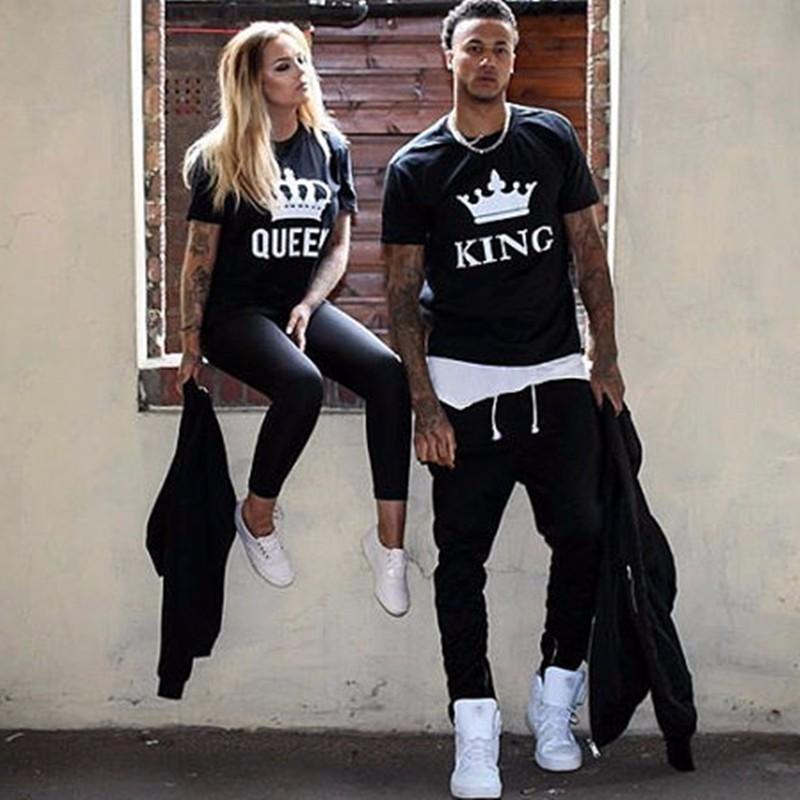 [해외]2017 NEW KING QUEEN 편지 인쇄 Black Tshirts 2017 BKLD 여름 캐주얼면 반팔 티셔츠 탑스 브랜드 루스 커플 탑스/2017 NEW KING QUEEN Letter Printed Black Tshirts 2017 BKLD Summer