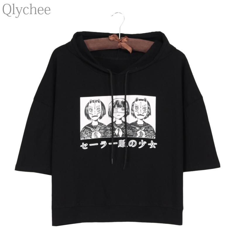 [해외]Qlychee 하라주쿠 스타일 여성 후디 티셔츠 일본 애니메이션 마스크 소녀 프린트 T 셔츠 하프 슬리브 캐주얼 루즈 탑 티/Qlychee Harajuku Style Women Hoodie T-shirt Japan Anime Mask Girl Japanese P
