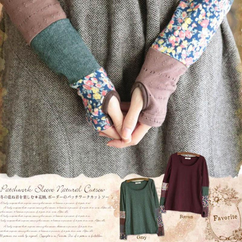 [해외]일본 여자 봄 달콤한 긴 Retail 퀼트 스티칭 핑거리스 스트레치 핸드 컬러 귀여운 카와이 로리타 셔츠 모리 걸 D127/Japanese Women Spring Sweet Long Sleeve Quilting Stitching Fingerless Stretch