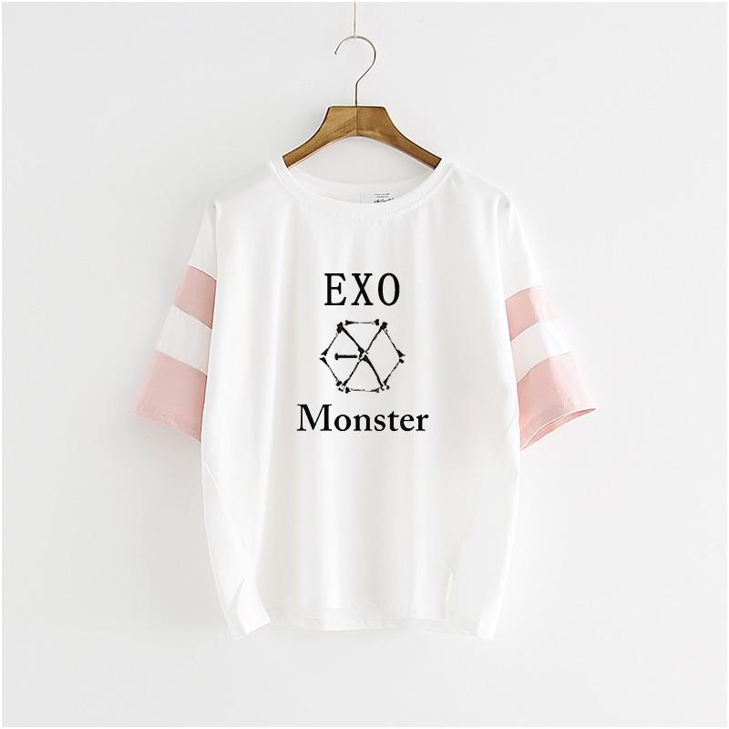 [해외]Kpop EXO Tres 시리즈 만화 코르 타 T-camisa 드 vestir blusa masculina y alumnas de k-pop exo Camiseta k pop T 셔츠/Kpop EXO tres series monstruo de manga cort