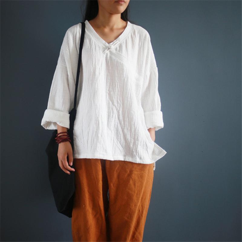 [해외]Johnature Women T-Shirts 코튼 리넨 V 넥 버튼 2017 가을 새 빈티지 긴 Retail 느슨한 3 색 기존 T- 셔츠/Johnature Women T-Shirts Cotton Linen V-neck Button 2017 Autumn New