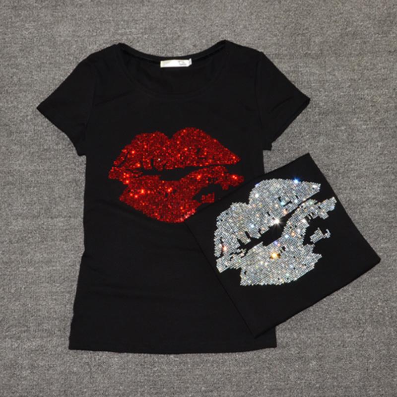[해외]탑 셀 티셔츠 여성 여름 짧은 Retail 여성 패션 섹시한 립 크리스탈 티셔츠 o 목 소프트 코 튼 숙 녀 티 셔츠/Top Selling t shirt women Summer Short Sleeve Feminine Fashion Sexy Lip Crystal