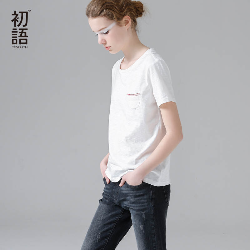 [해외]Toyouth 2017 여름 신착 여성 코튼 스트레이트 오 넥 반Retail 솔리드 T 셔츠 모든 경기 기반/Toyouth 2017 Summer New Arrival Women Cotton Straight O-Neck Short Sleeve Solid T-Shi