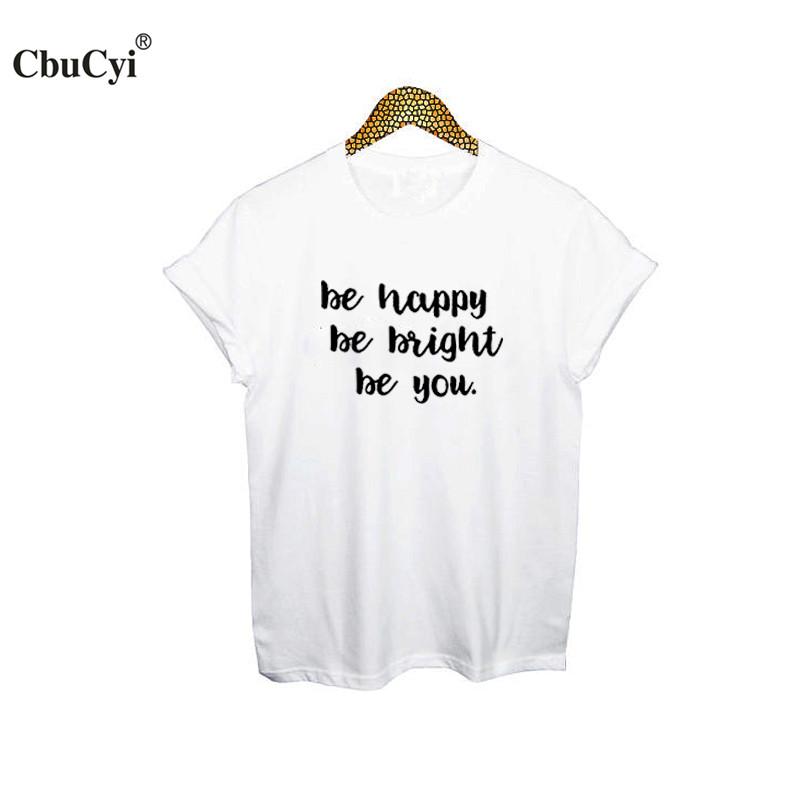 [해외]해피 Be Be Be Be You T- 셔츠 여성 패션 구호 인쇄 된 tshirt 검은 색 흰색 Tees 2017 여름 여성 의류 티 셔츠 XXL/Be Happy Be Bright Be You T-Shirt Women Fashion Slogan Printed t