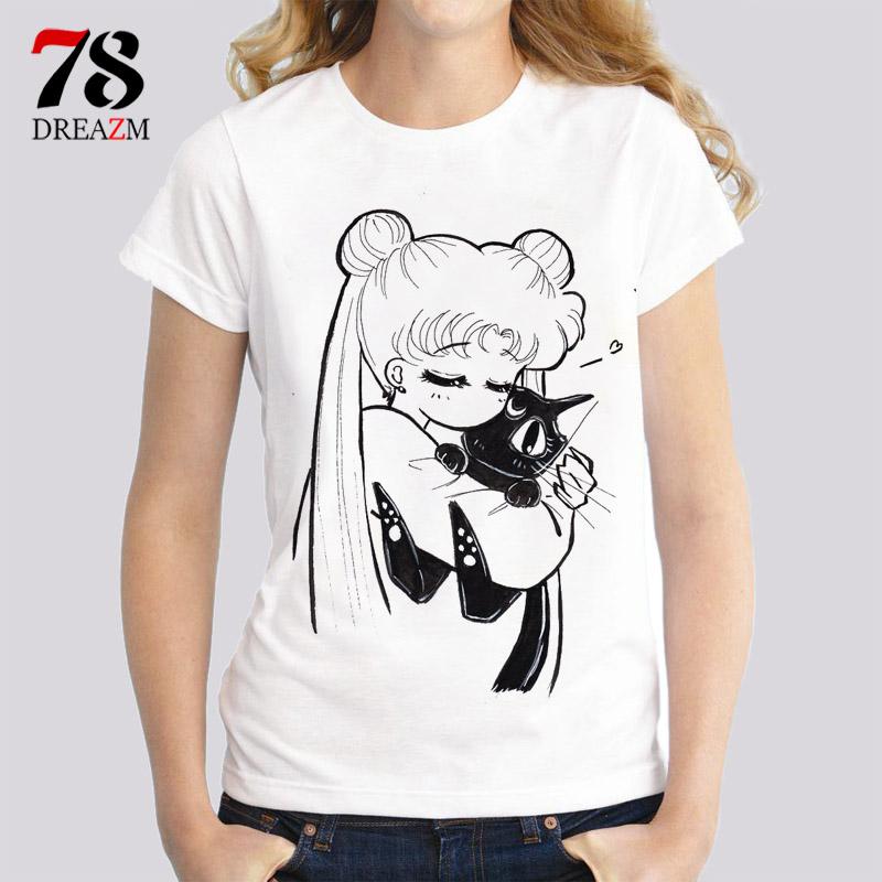 [해외]선원 문 T 셔츠 여성 여성 패션 인쇄 고양이 여성 T 셔츠 2017 여름 재미 T 셔츠 Femme harajuku kawaii상의/sailor moon t shirts women female Fashion print cat women t-shirt 2017 s