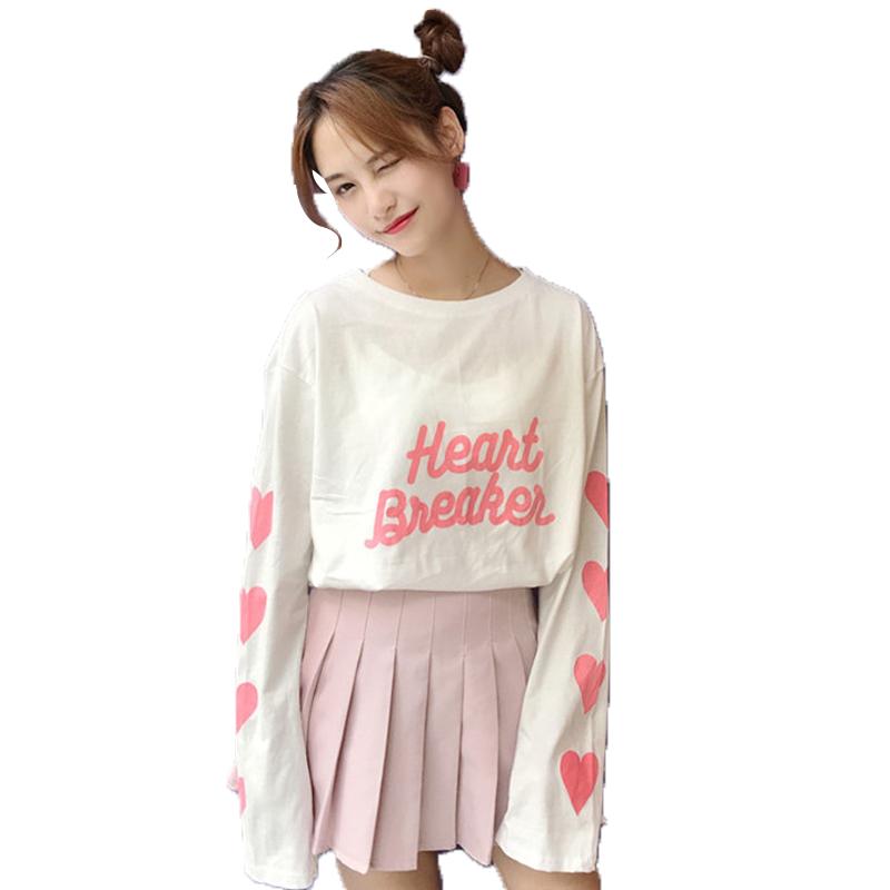 [해외]Fiodcrg New 2017 여성 가을 ??울산 얇은 루스 스타일 프린트 복숭아 하트 티셔츠 긴팔 여성 캐주얼 레터 셔츠/Fiodcrg New 2017 Women Autumn Ulzzang Thin Loose Style Print Peach Heart T-sh