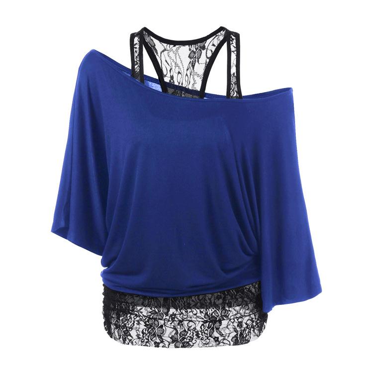 [해외]2017 빅 사이즈 Women 's T Shirts 2017 Summer New 루즈 조끼 레이스 스티치 오블 리크 칼라 배트 슬리브 T 셔츠 플러스 사이즈 탑 5XL/2017 Big Sizes Women&s T Shirts 2017 Summer New