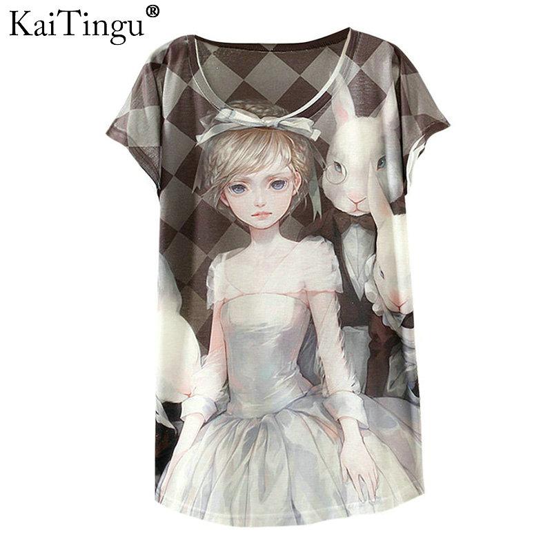 [해외]KaiTingu 2017 새로운 디자인 패션 빈티지 봄 여름 T 셔츠 여성 탑 Tshirt 동물 공주 인쇄 T - 셔츠 여성 의류/KaiTingu 2017 New Design Fashion Vintage Spring Summer T Shirt Women Tops