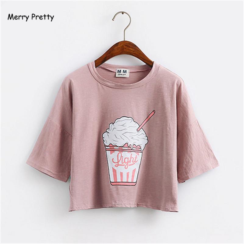 [해외]Merry Pretty 2017 여름 신작 하라주쿠 여성 티셔츠 아이스크림 코리안 코튼 느슨한 작물 꼭대기 카와이 티셔츠 여성 티셔츠/Merry Pretty 2017 summer new Harajuku women t shirt ice cream Korean st