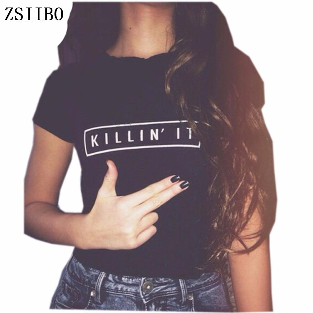 [해외]ZSIIBO BTS Killin It 패션 여성 T 셔츠 탑스 하라주쿠 티 화이트 블랙 반Retail 티셔츠 캐주얼 나이트 클럽 의류/ZSIIBO BTS Killin It Fashion Women T shirt Tops Harajuku Tee White Blac