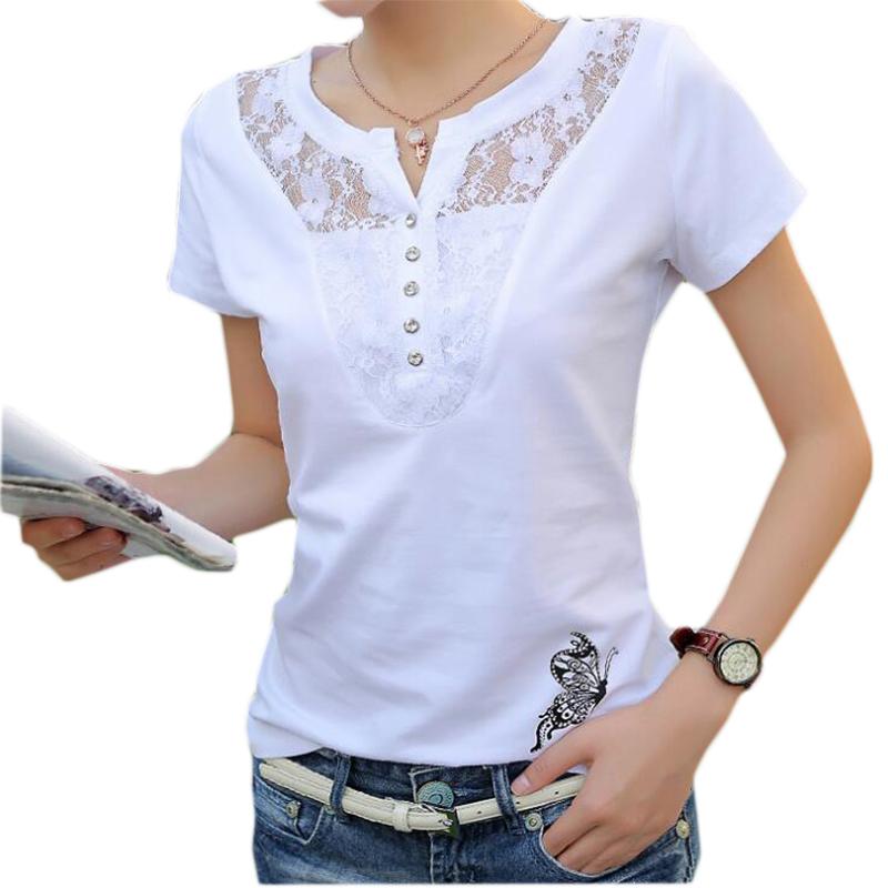 [해외]여름 티셔츠 여성 캐주얼 레이디 탑 티즈 코튼 화이트 Tshirt 여성 브랜드 의류 티셔츠 탑 티 플러스 사이즈 4XL/Summer T-shirt Women Casual Lady Top Tees Cotton White Tshirt Female Brand Clot