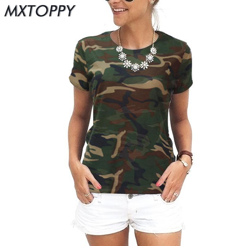 [해외]2018 여름 여성 위장 느슨한 티셔츠 캐주얼 멋진 여자 위장 탑 코튼 느슨한 짧은 Seleeve 라운드 칼라 군대 그린/2018 Summer women camouflage loose T-shirt Casual Cool Woman camouflage Tops C