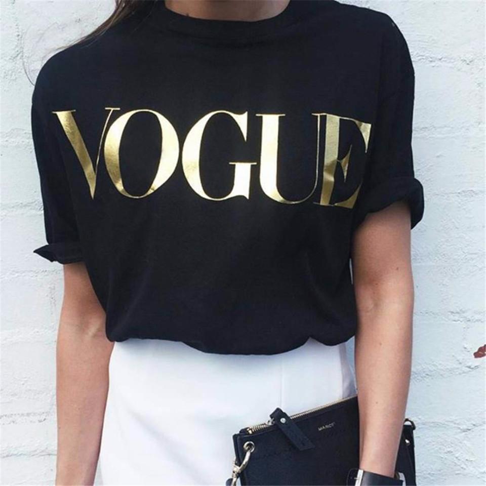[해외]2018 패션 여름 T 셔츠 여성 VOGUE 인쇄 된 티셔츠 여성 탑스 티 셔츠 Femme New Arrivals harajuku 여성 티셔츠/2018 Fashion Summer T Shirt Women VOGUE Printed T-shirt Women Tops
