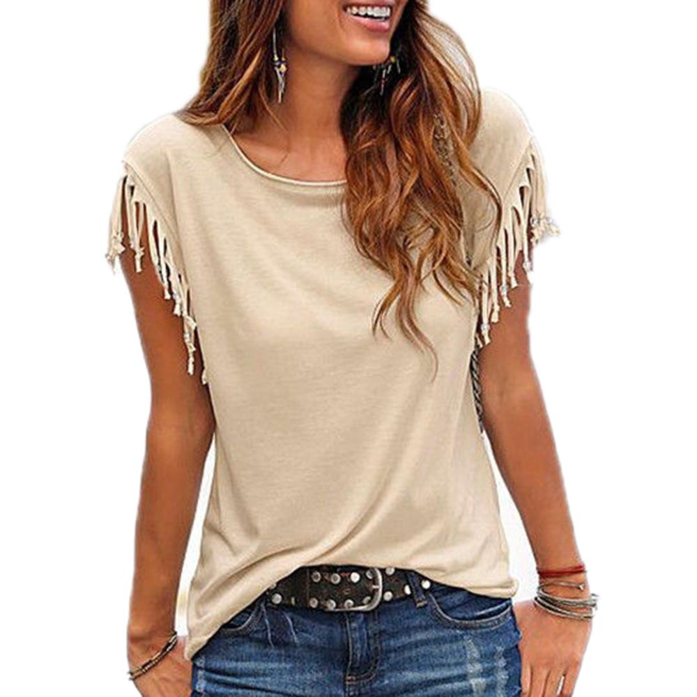[해외]여성 코 튼 캐주얼 캐주얼 티셔츠 민Retail 솔리드 컬러 티셔츠 반Retail 오목 넥 여성 의류 티셔츠/Women Cotton Tassel Casual T-shirt Sleeveless Solid Color Tees Short Sleeve O-neck Wo
