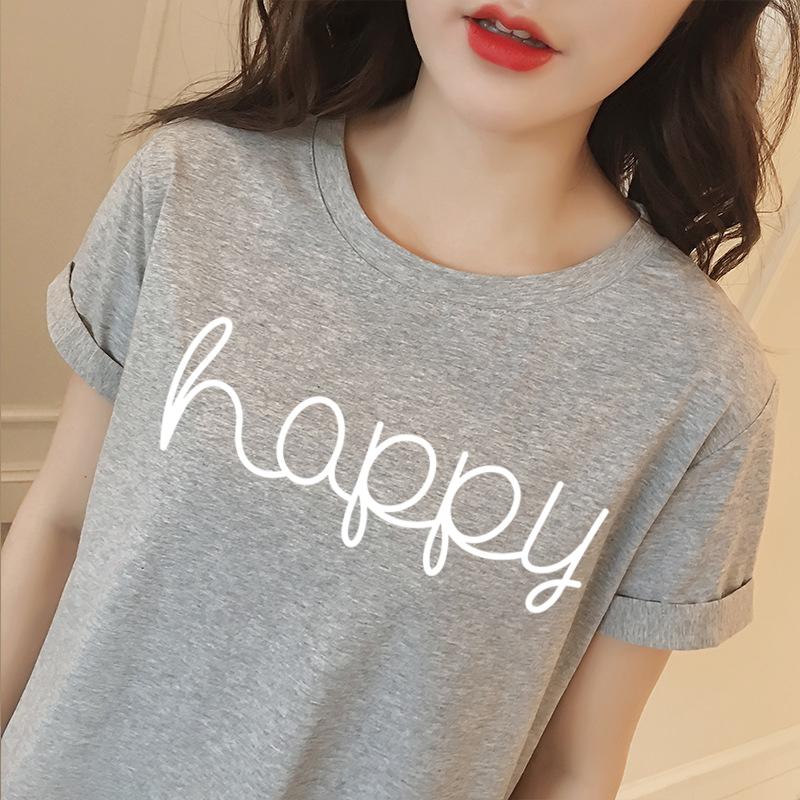 [해외]한국어 스타일 여름 여성 티셔츠 캐주얼 레이디 브랜드 탑스 티 해피 편지 인쇄 여성 & T 셔츠 루스 티셔츠 BTS/Korean Style Summer Female T-shirt Wholesale Casual Lady Brand Tops Tee Happy