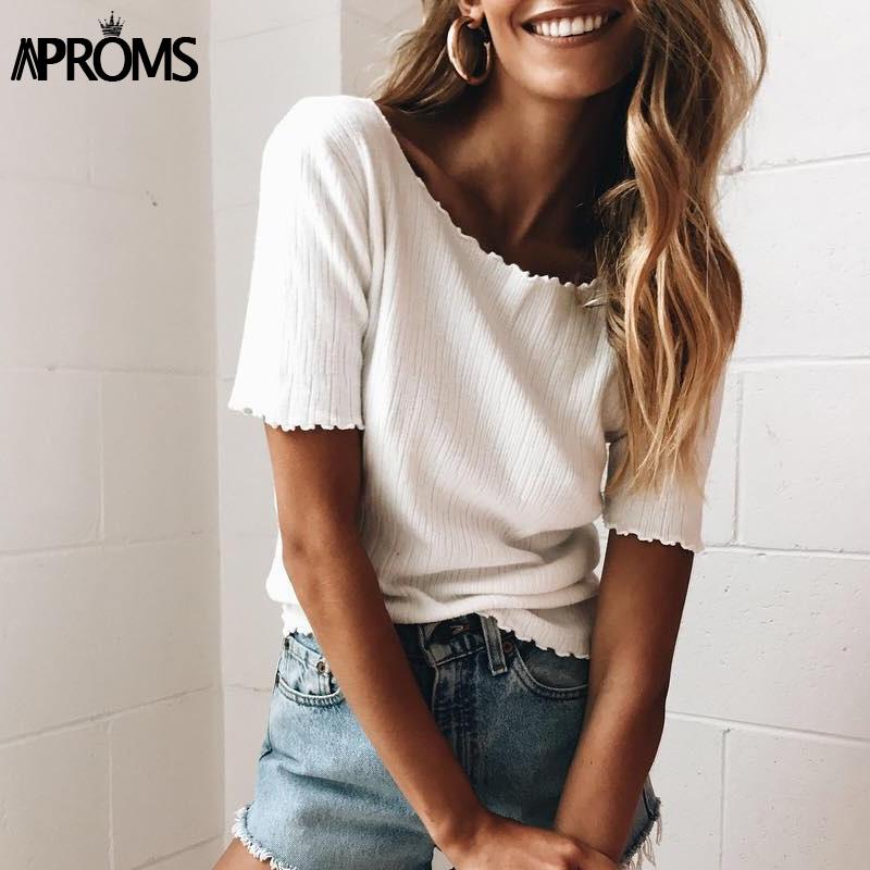 [해외]Aproms 여성 스위트 니트 반팔 티셔츠 2017 기본 니트 티 캐주얼 화이트 스트레치 티셔츠 여성 패션 Summer Top Mujer/Aproms Women Sweet Knitted Short Sleeve T-Shirt 2017 Basic Knit Tee C